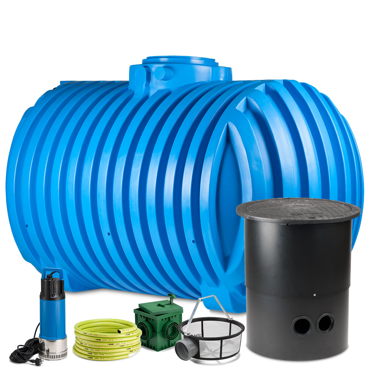 regenwassertank zisterne blue star 6500 l gartenanlage inkl pumpe deckel ebay. Black Bedroom Furniture Sets. Home Design Ideas